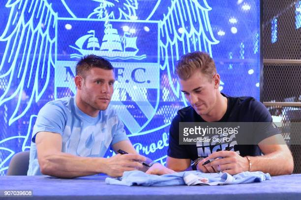 Manchester City Signing Session Etihad Stadium Manchester City's James Milner and goalkeeper Joe Hart during a question and answer session at the...