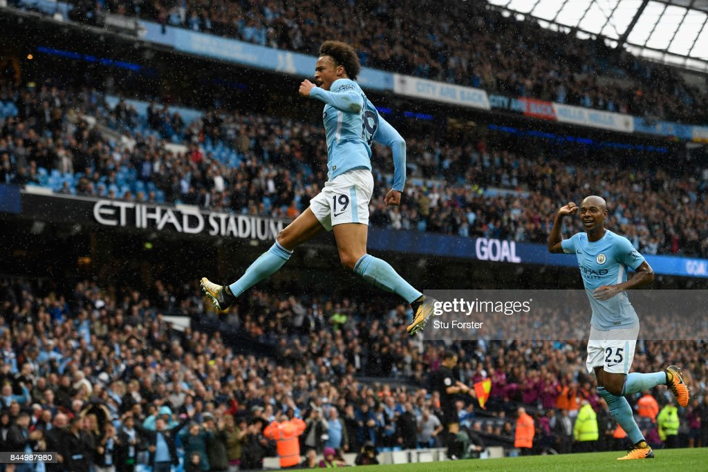 Manchester City striker Leroy Sane celebrates after scoiring the fifth Manchester City goal during the Premier League match between Manchester City and Liverpool at Etihad Stadium on September 9, 2017 in Manchester, England.