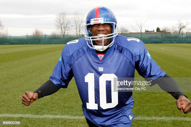 Manchester City Superbowl Preview Carrington Training Ground Manchester City's Micah Richards in the kit of New York Giants ahead of NFL Superbowl...