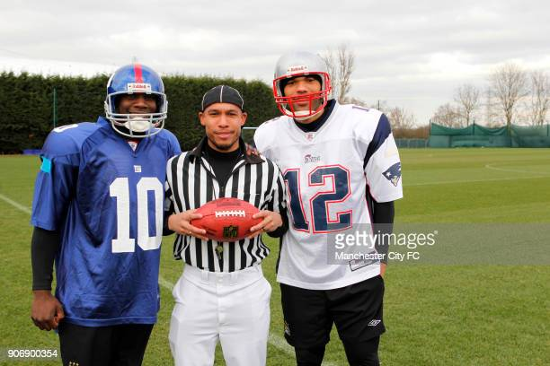 Manchester City Superbowl Preview Carrington Training Ground Manchester City's Micah Richards in the kit of New York Giants Nigel De Jong in umpire...