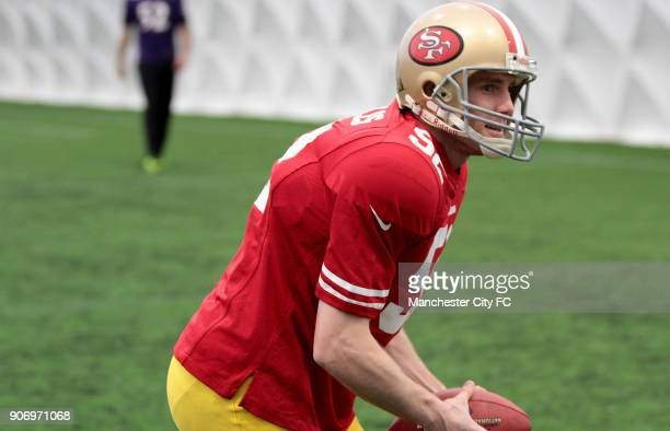 Manchester City Superbowl Preview Carrington Training Ground Manchester City's James Milner wears the San Francisco 49ers kit prior to the NFL...