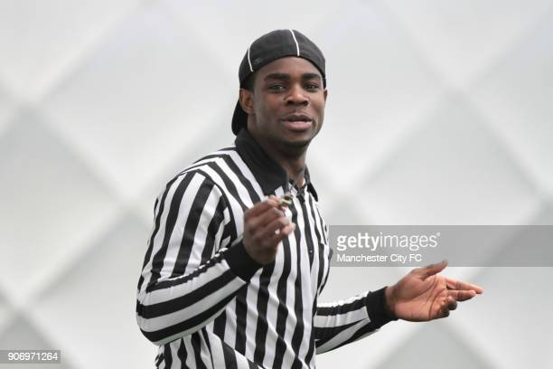 Manchester City Superbowl Preview Carrington Training Ground Umpire Micah Richards prior to the Baltiomore Ravens and San Francisco 49ers in...