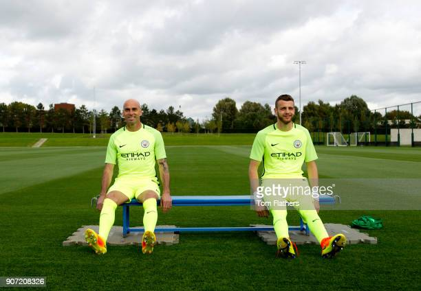 Manchester City Team Group Photo Behind The Scenes Manchester Manchester City goalkeeper Willy Caballero and Angus Gunn during a photoshoot for the...