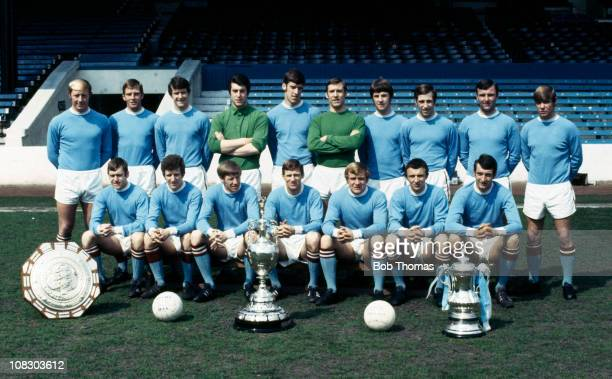 Manchester City team photograph taken at Maine Road in Manchester 28th April 1969 Back row George Heslop Alan Oakes Mike Doyle Ken Mulhearn Tommy...