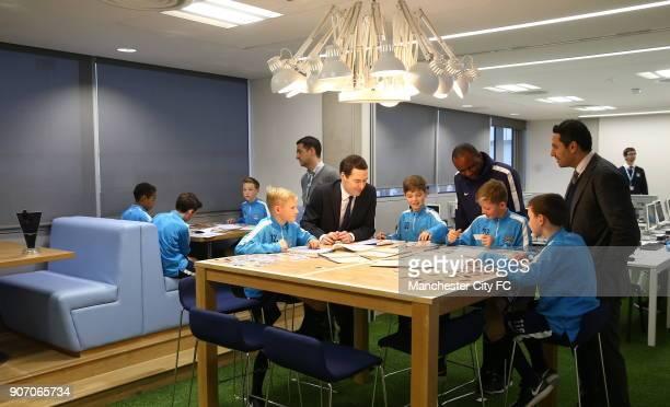 Manchester City The City Football Academy Launch Manchester Patrick Vieira George Osbourne and Khaldoon Al Mubarak meet academy players in their...