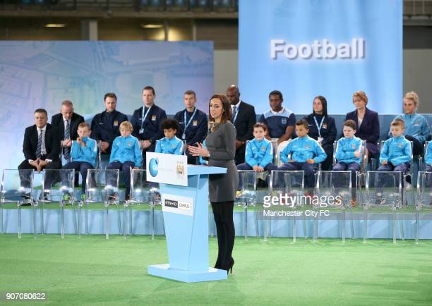 Manchester City The City Football Academy Launch Manchester Sally Nugent at the City Football Academy on launch day
