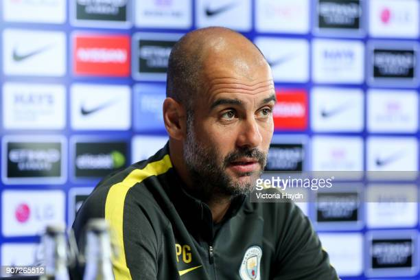 Manchester City Training and Press Conference Premier League City Football Academy Manchester City manager Pep Guardiola chairs a press conference...