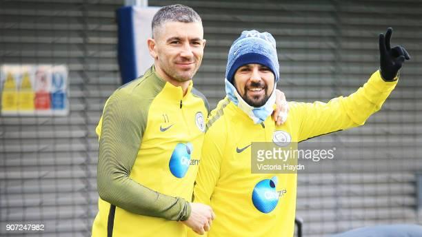 Manchester City Training Barclays Premier League City Football Academy Manchester City's Aleksandar Kolarov and Nolito during training