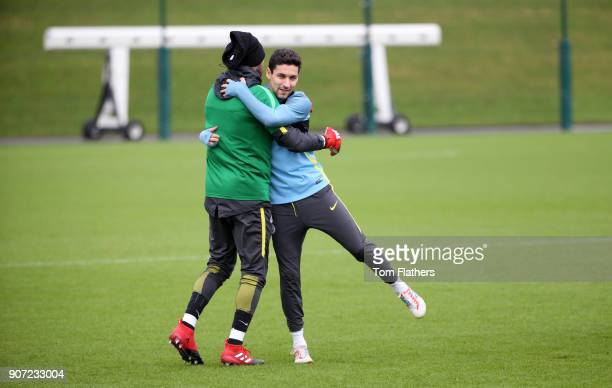 Manchester City Training City Football Academy Manchester City goalkeeper Claudio Bravo and Jesus Navas in training