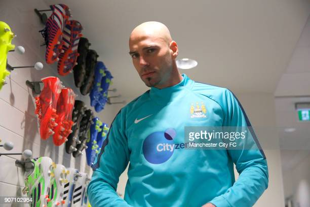 Manchester City Training City Football Academy Manchester City goalkeeper Willy Caballero in the boot room