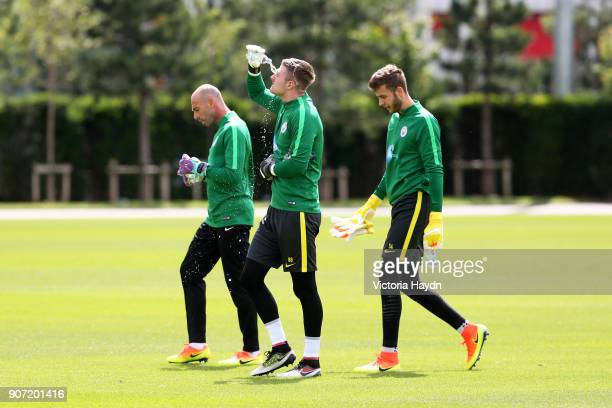 Manchester City Training City Football Academy Manchester City goalkeepers Willy Caballero Ian Lawlor and Angus Gunn during a training session at...
