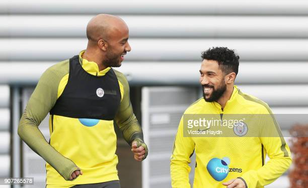 Manchester City Training City Football Academy Manchester City's Fabian Delph and Gael Clichy
