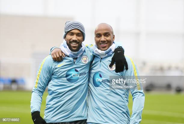 Manchester City Training City Football Academy Manchester City's Gael Clichy and Fabian Delph at training