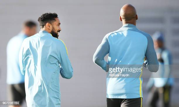 Manchester City Training City Football Academy Manchester City's Gael Clichy and Fabian Delph during training