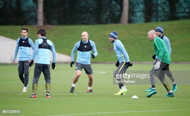 Manchester City Training City Football Academy Manchester City's Jesus Navas David Silva Sergio Aguero Pablo Zabaleta goalkeeper Willy Caballero and...
