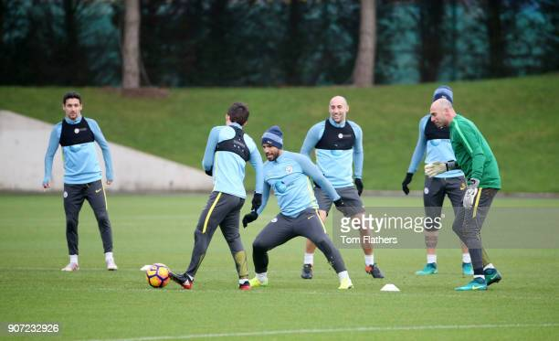 Manchester City Training City Football Academy Manchester City's Jesus Navas David Silva Sergio Aguero Pablo Zabaleta Nicholas Otamendi and...