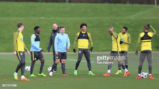 Manchester City Training City Football Academy Manchester City's Leroy Sane and Fabian Delph in training