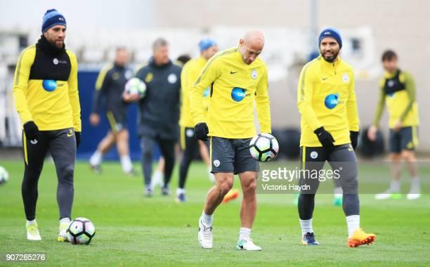 Manchester City Training City Football Academy Manchester City's Pablo Zabaleta kicks the ball during training