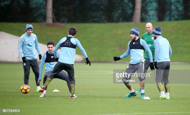 Manchester City Training City Football Academy Manchester City's Nolito Jesus Navas David Silva Nicholas Otamendi goalkeeper Willy Caballero and...