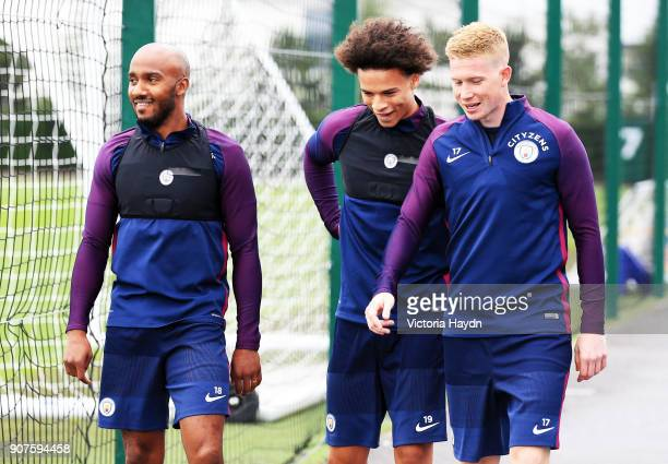 Manchester City Training City Football Academy Manchester City's Fabian Delph Leroy Sane and Kevin De Bruyne at training