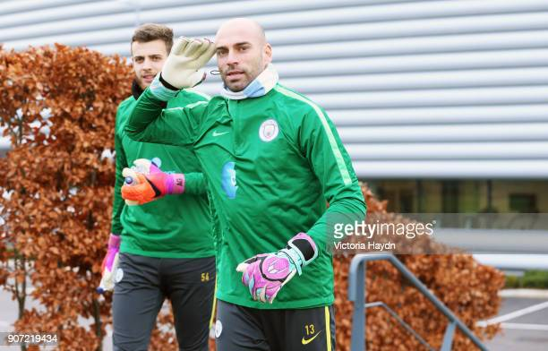 Manchester City Training City Football Academy Manchester City's Willy Caballero walking to training