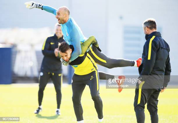 Manchester City Training City Football Academy Manchester City's Willy Caballero and Nicholas Otamendi during training