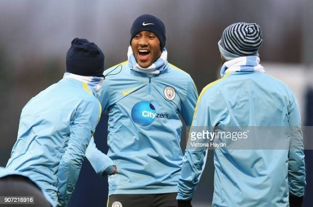 Manchester City Training City Football Academy Manchester's Febian Delph laughing during training