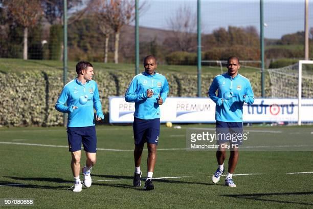 Manchester City Training Lazio Formello Training Ground Rome Manchester City's James Milner Fernandinho and Fernando