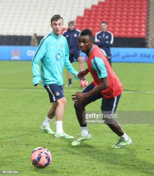 Manchester City Training Mohammed Bin Zayed Stadium Abu Dhabi Manchester City's Thierry Ambrose and Bersant Celina during open training at Mohammed...