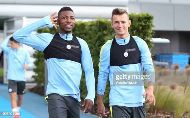 Manchester City Training Session City Football Academy Manchester City's Kelechi Iheanacho and Bersant Celina walking to training A19U3369