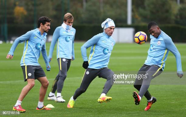 Manchester City Training Session City Football Academy Manchester City's Willy Caballero and Kelechi Iheanacho during training