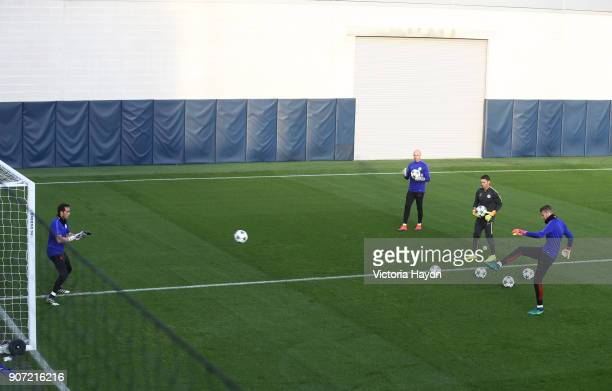 Manchester City Training Session City Football Academy Manchester City goalkeeper Claudio Bravo trains with Willy Caballero and Angus Gunn