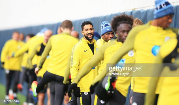 Manchester City Traning City Football Academy Manchester City's Gael Clichy during training ahead of the Premiere League match against Stoke City on...