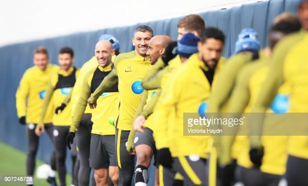 Manchester City Traning City Football Academy Manchester City's Aleksandar Kolarov during training ahead of the Premiere League match against Stoke...