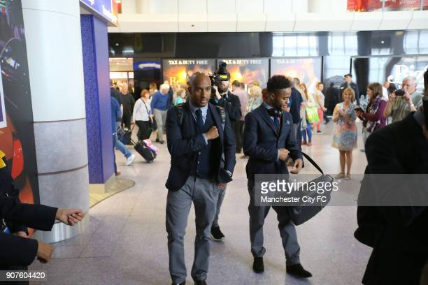 Manchester City Travel to Madrid Manchester Airport Manchester City's Fabian Delph and Raheem Sterling before boarding the flight to Madrid