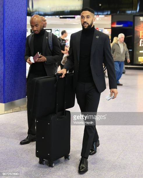 Manchester City Travel to Monaco Manchester City's Fabian Delph and Gael Clichy at Manchester Airport