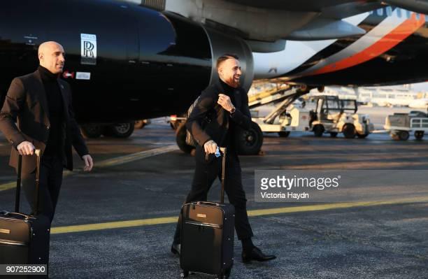 Manchester City Travel to Monaco Manchester City's Nicholas Otamendi and Pablo Zabaleta arrive for their Monaco Champions league fixture