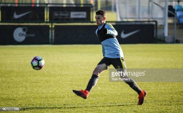 Manchester City U18 Training City Football Academy Manchester CIty's Phil Foden during training