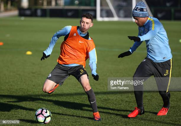 Manchester City U18 Training City Football Academy Manchester City's Phil Foden and Joel Latibeaudiere in training
