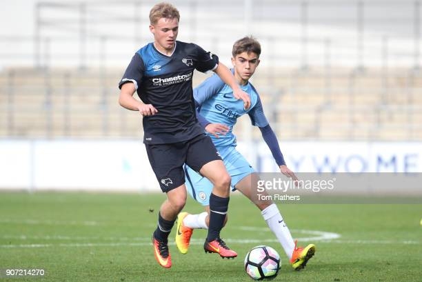Manchester City U18 v Derby County U18 U18 Premier League City Football Academy Stadium Manchester City's Iker Pozo La Rosa in action against Derby...