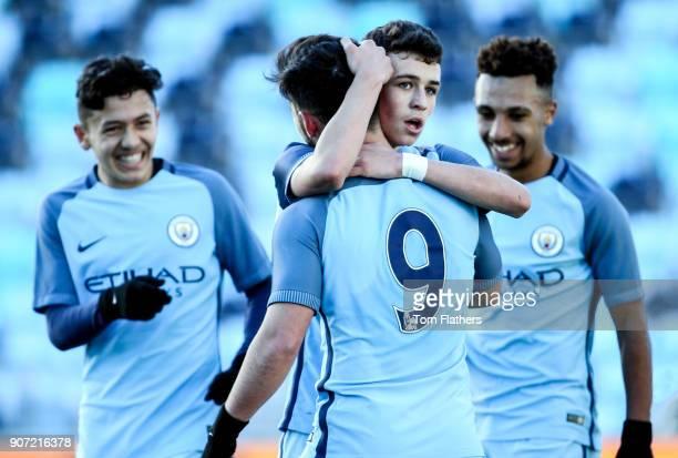 Manchester City U18 v Everton U18 U18 Premier League City Football Academy Stadium Manchester City's Phil Foden celebreates with Joe Hardy