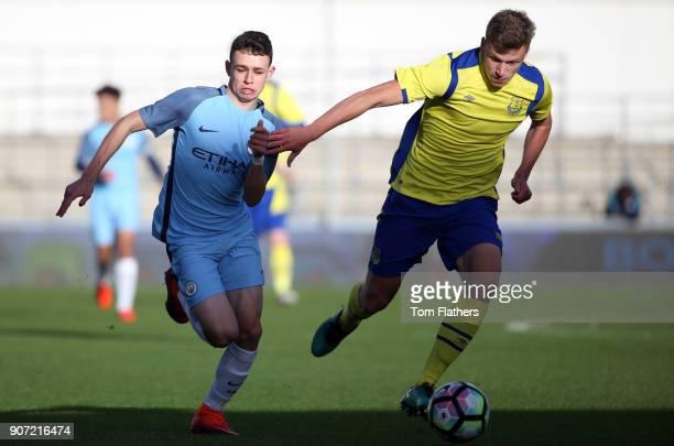 Manchester City U18 v Everton U18 U18 Premier League City Football Academy Stadium Manchester City's Phil Foden in action