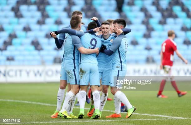 Manchester City U18 v Middlesbrough U18 U18 Premier League City Football Academy Manchester City's Phil Foden celebrates against Middleborough