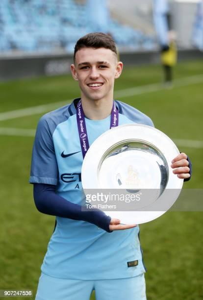 Manchester City U18 v Middlesbrough U18 U18 Premier League City Football Academy Manchester City's Phil Foden celebrates winning the U18 Northern...