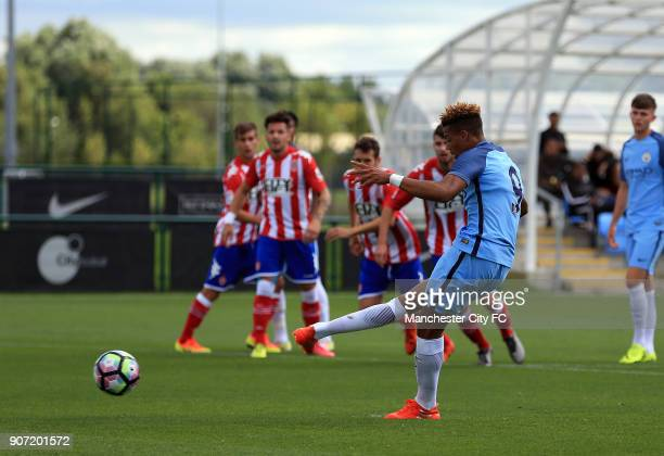 Manchester City U19 v Girona Pre Season Friendly City Football Academy Manchester City's Lukas Nmecha scores his sides third goal from the penalty...