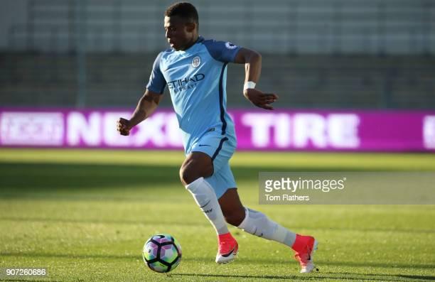 Manchester City U23's v Southampton U23's Premier League 2 City Football Academy Stadium Manchester City's Javairo Dilrosun in action against...