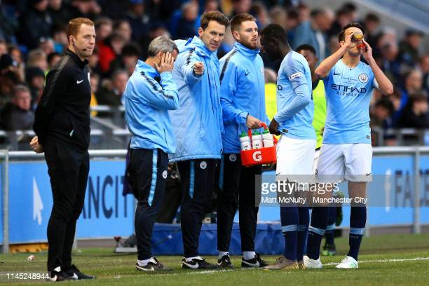 Manchester City Under 18's manager Gareth Taylor gives instructions to his players during the FA Youth Cup Final at Manchester City Football Academy...
