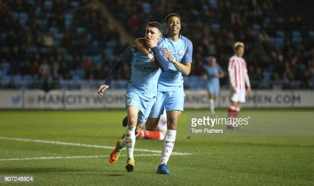 Manchester City Under 18's v Stoke City Under 18's FA Youth Cup Semi Final Academy Stadium Manchester City's Phil Foden celebrates scoing against...