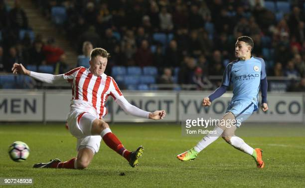 Manchester City Under 18's v Stoke City Under 18's FA Youth Cup Semi Final Academy Stadium Manchester City's Phil Foden scores against Stoke