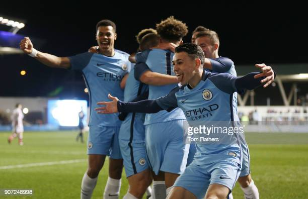 Manchester City Under 18's v Stoke City Under 18's FA Youth Cup Semi Final Academy Stadium Manchester City's Phil Foden celebrates after Brahim Diaz...